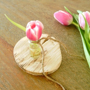 pink tulip and twine vase boutonniere