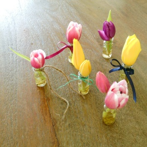 tulip vase boutonnieres