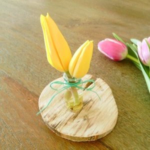vase boutonniere yellow tulips turquoise wraphia