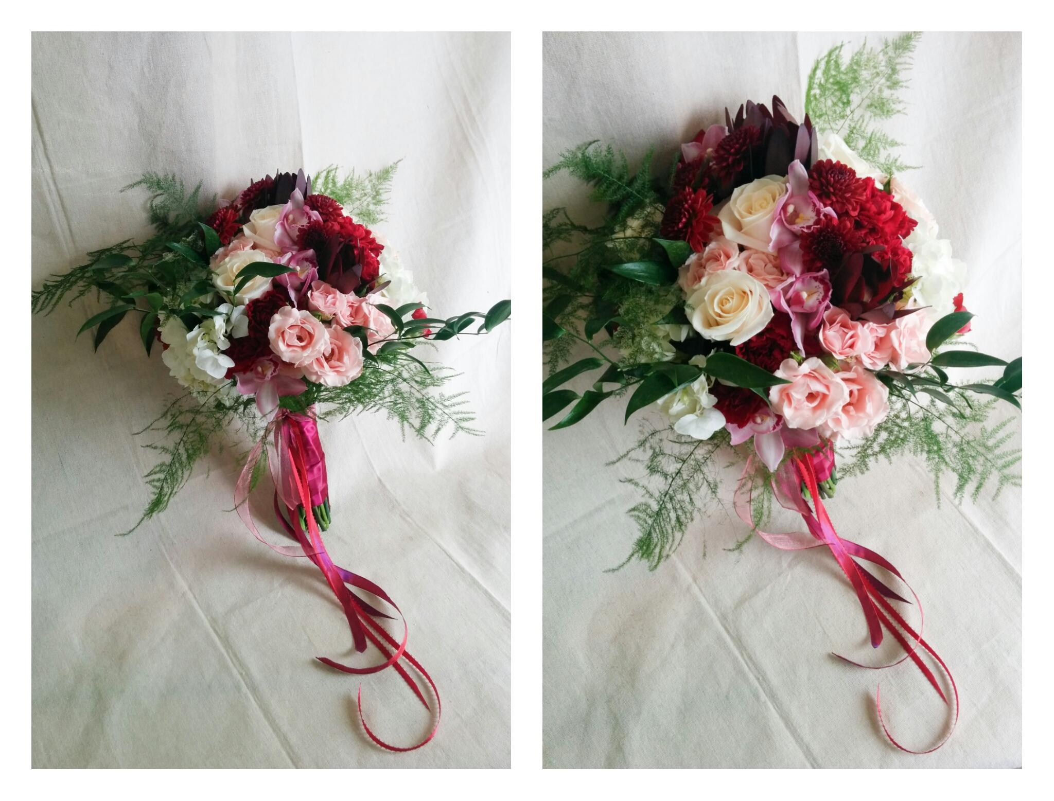 Wedding bouquets sakurahs flower studio marsala wedding bouquet izmirmasajfo