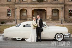 white vintage car wedding