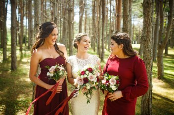 Burgundy, nude and ivory bouquets