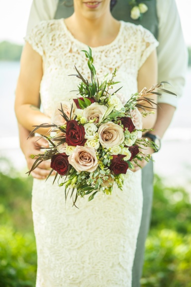 Burgundy, nude and ivory bridal bouquet