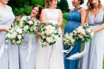White & greenery with blue eryngium accents