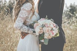 Round bouquet with blush pinks and ivory