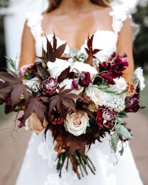 Moody burgundy and ivory bouquet