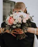 Round bouquet in blush and ivory