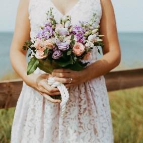 Pastel peach and purple elopement
