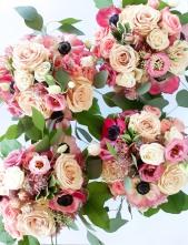 Vibrant pink bridesmaid bouquets